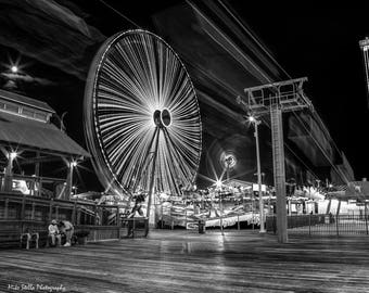 Casino Pier, Seaside Heights, Boardwalk, Long Exposure, Black and White, NJ, 8x10 Inch Print