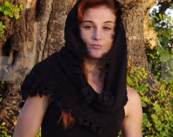 Knit Cowl Scarves Shawl Womens Winter Scarves Infinity Scarves Winter Scarves Black Scarf Scarves For Women Unique Scarves Knitted Scarves