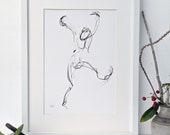 A4 minimalist art print of a jumping girl charcoal drawing