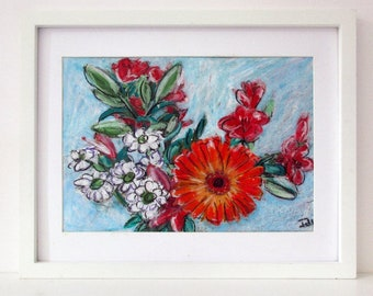 Original  Floral Wall Art, Flower Drawing, Orange Flowers, Colourful Drawing, Oil Pastel Drawing, Gift for Women, A4, Unframed, Gift for Mum