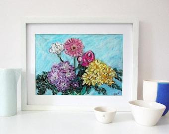 Flower Art, Original Flower Drawing, Floral Wall Art, Pink Flowers, Modern Art, Oil Pastels, Gift for Women, A4, Unframed, Gift for Mum