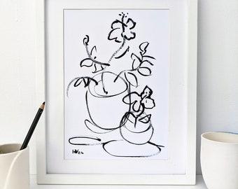 Instant download of original hibiscus in pots ink drawing