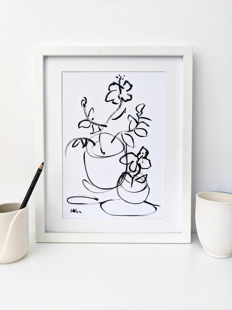 Instant download of original hibiscus in pots ink drawing image 0