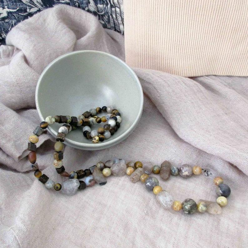 Long Handmade Cacoxenite Quartz Gemstone Necklace Unique Gift image 0