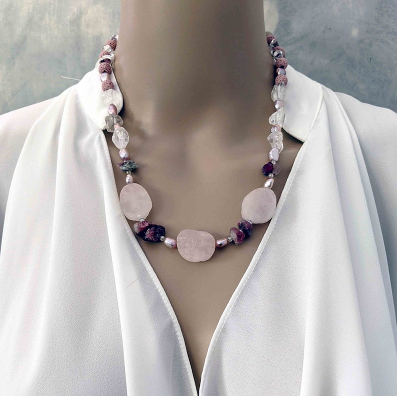 Handmade Pink Tourmaline Rose Quartz Pearls Gemstone Necklace image 0