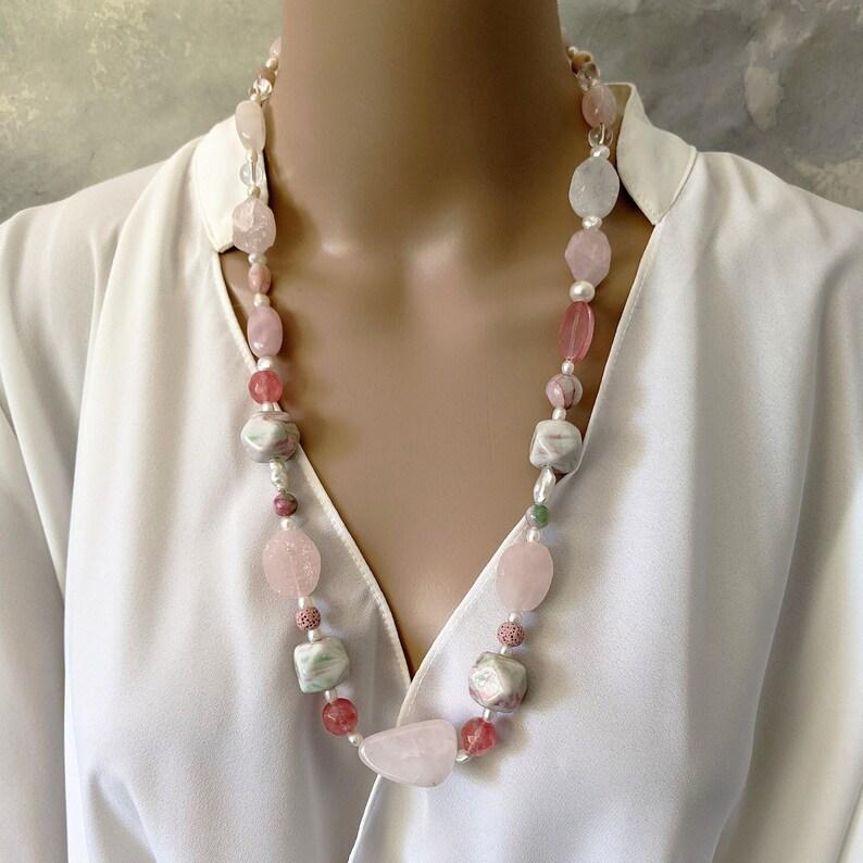 Long handmade rose quartz and pearls gemstone necklace image 0