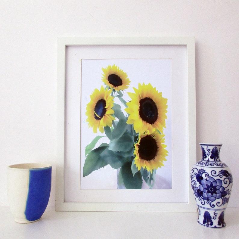 Downloadable sunflowers digital art print image 0