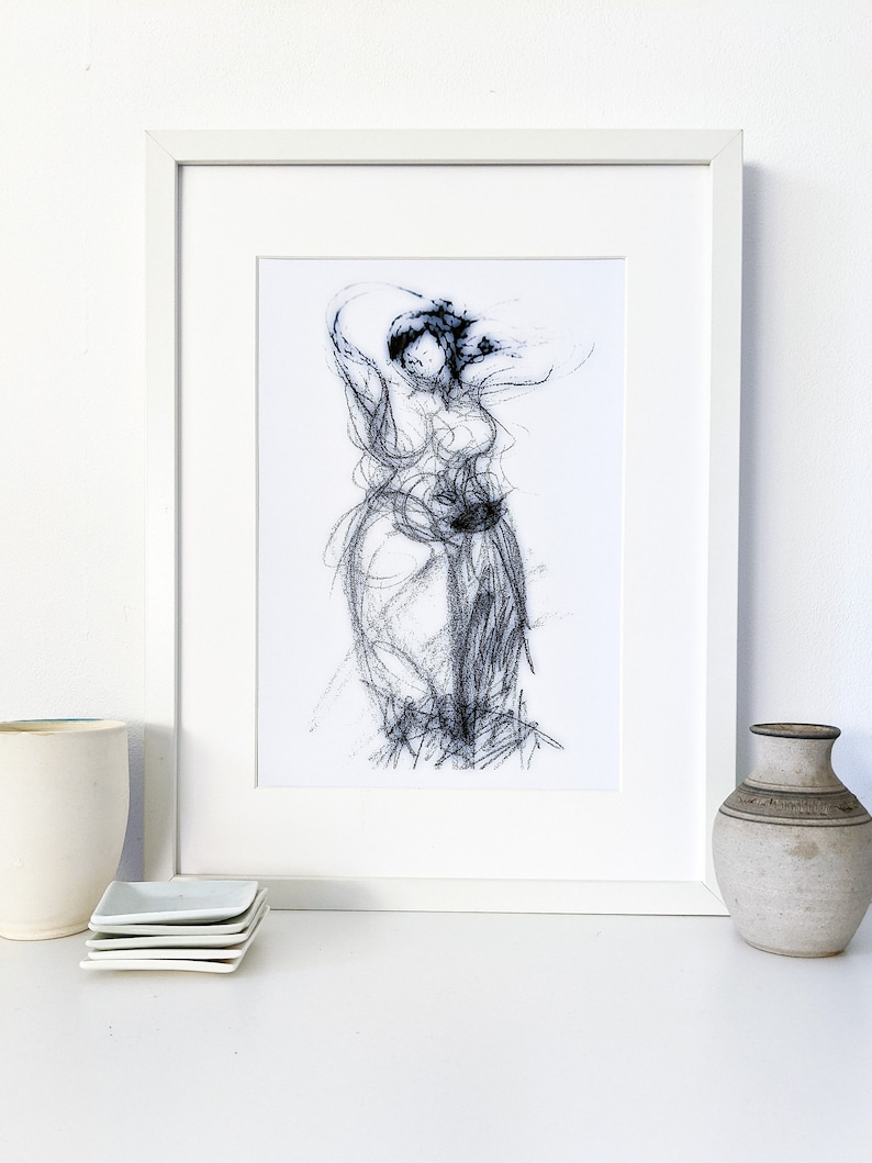 Printable instant download drawing of a woman with sarong image 0