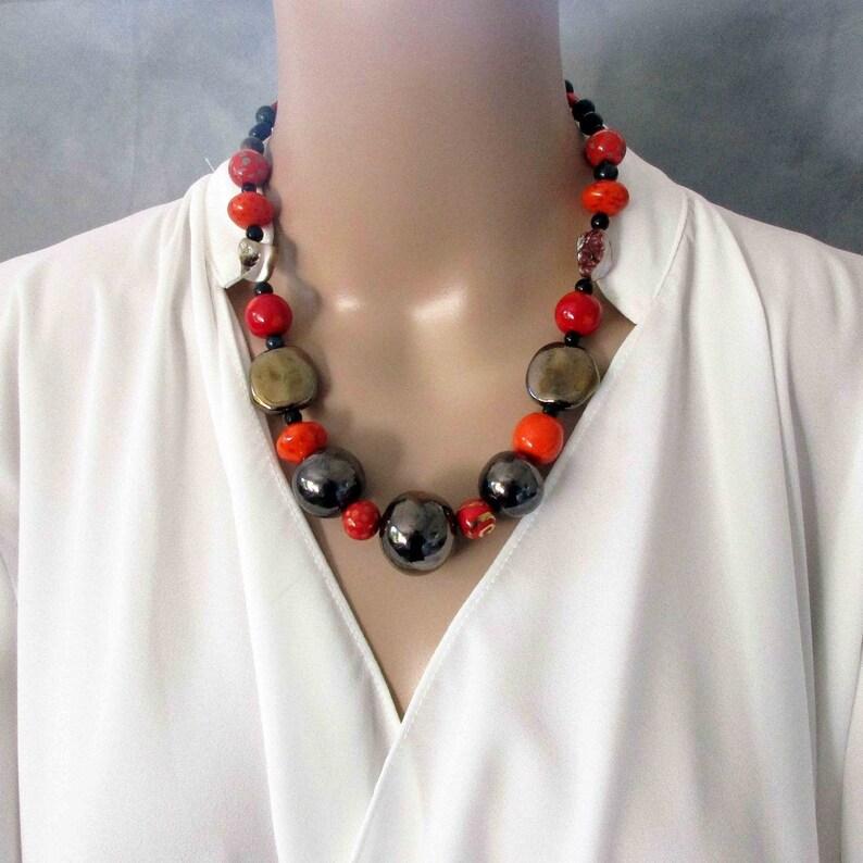 Handmade Red and Metallic Kazuri Beads and Gemstones Necklace image 0