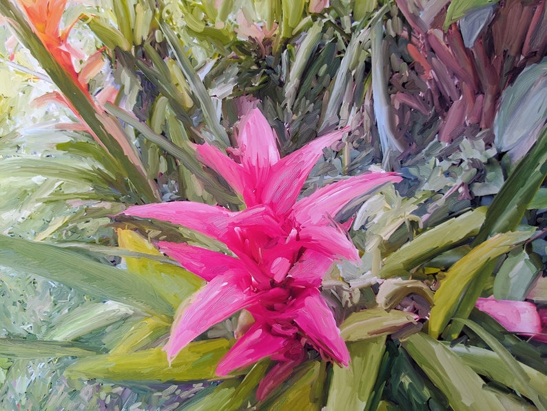Downloadable pink bromeliad print image 0