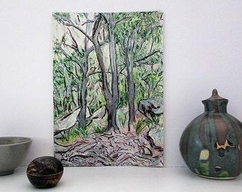 Original Landscape Drawing, Bushland, Modern Art, Oil Pastels, Australia, Gum Trees, Natural Colours, Vertical A4 Unframed, Gift for Men