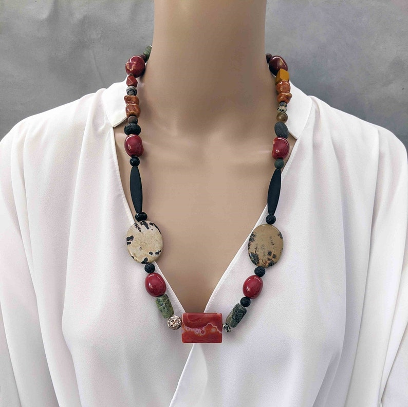 One-of-a-Kind Gift for Her Long Handmade Beaded  Necklace with image 0