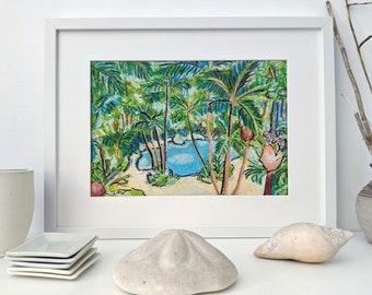 Original Australian palm tree oil pastel drawing unframed A4