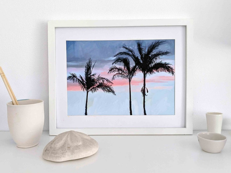 Palm Trees at Sunset Downloadable Art Print A4 Gift for Men image 0