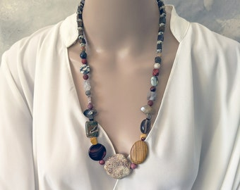 Handmade chunky assorted gemstones statement necklace in earthy colours
