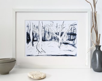 Printable black and white forest landscape