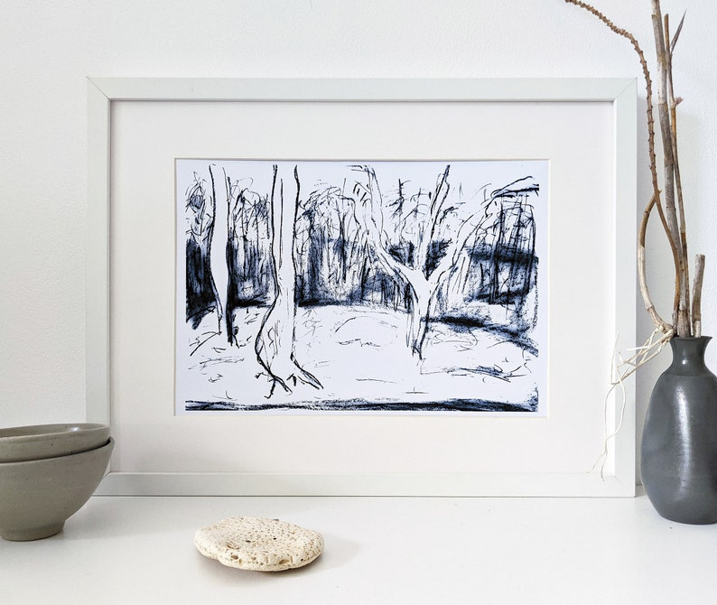 Printable black and white forest landscape image 0