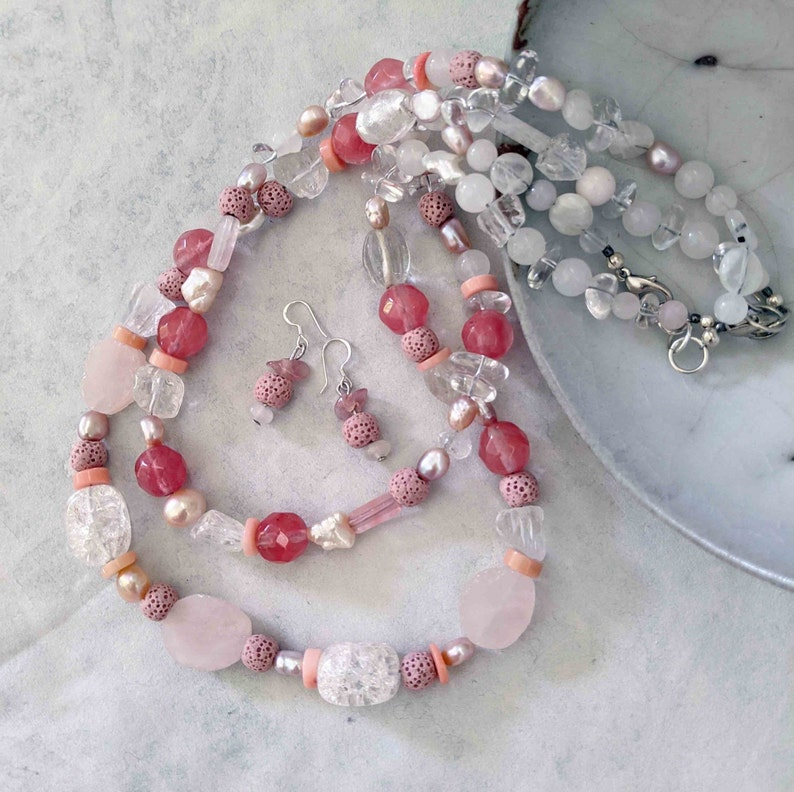 Handmade Pink Gemstone Necklaces and Earring Set Valentines image 0