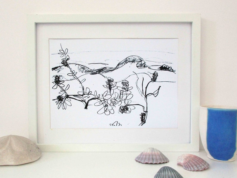 A4 Black and White Australian Landscape Print Sand Dunes and image 0