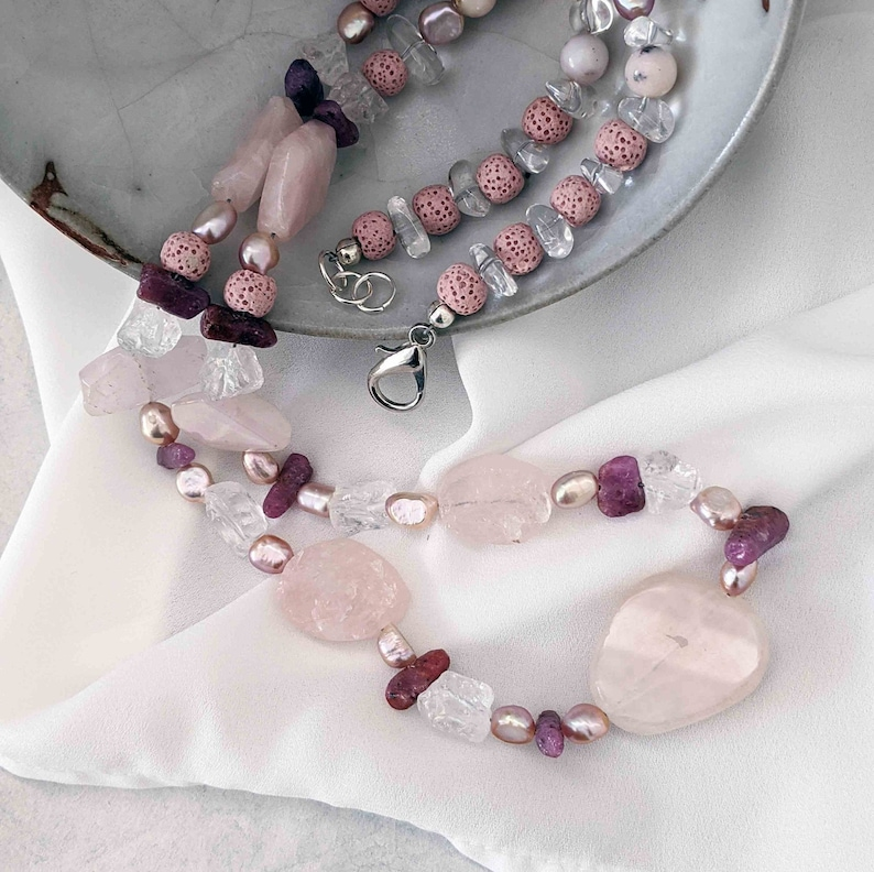 Long Handmade Pink Necklace with Baroque Pearls Ruby and Rose image 0