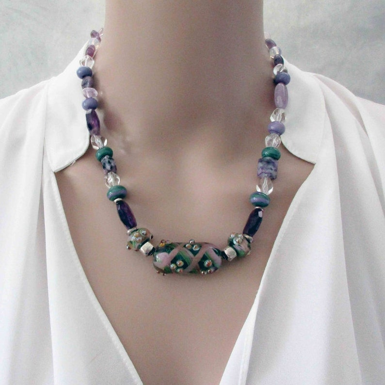 Handmade Amethyst Gemstones and Lampwork Art Glass Necklace image 0