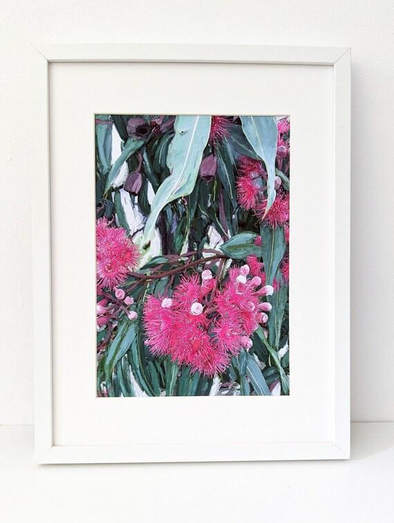 A2 pink eucalyptus downloadable botanical art print 45 x60cm