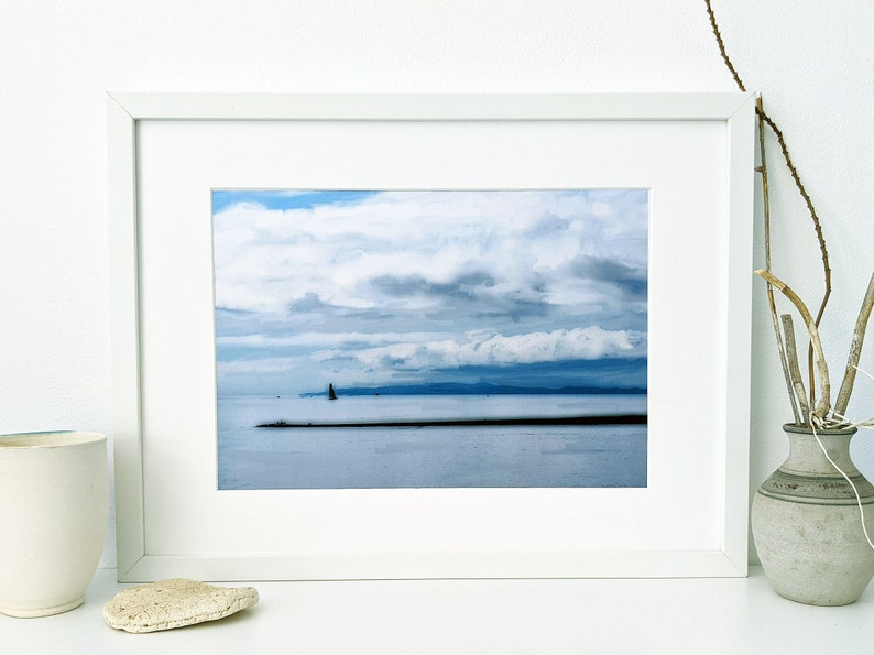 Downloadable digital art print of cloudy skies over Moreton image 0