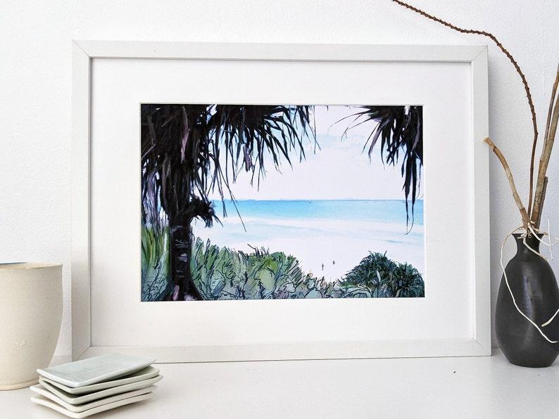 Downloadable digital art print of pandanas on beach Stradbroke image 0