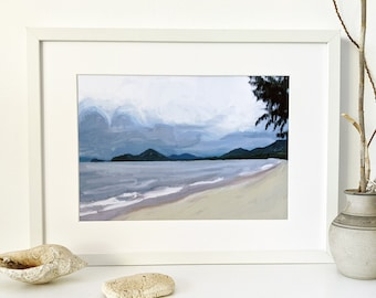 Cloudy skies over Palm Cove digital painting