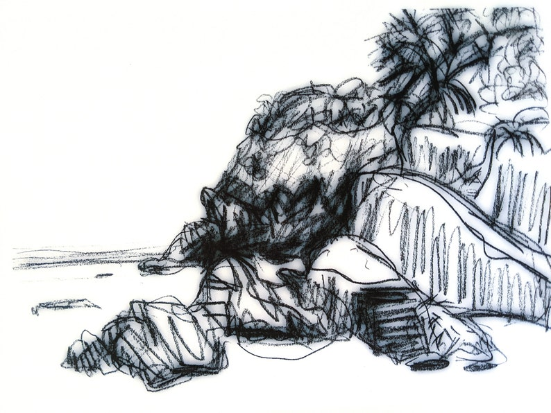Printable black and white coastal landscape image 0