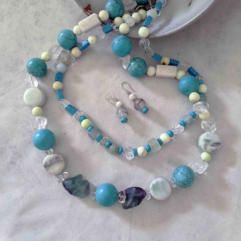 Handmade Turquoise Gemstone Necklaces and Earrings Set image 0
