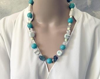 Handmade turquoise and fluorite gemstone necklace