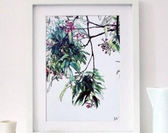 A4 Downloadable Eucalyptus Art Print, Botanical Wall Art, Printable Wall Art, Gum Tree Print, Australian Landscape Wall Art, Gift for Women