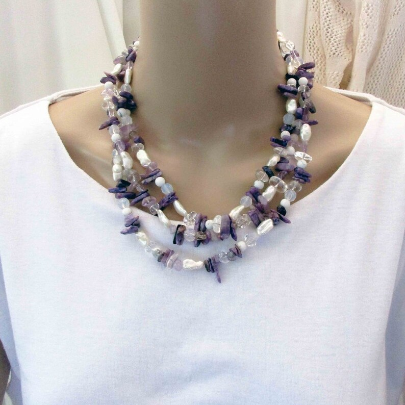 Long Handmade Purple Gemstones Crystals and Pearls Statement image 0