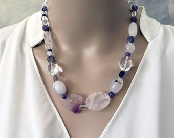 Handmade clear crystals, rose quartz and amethyst necklace