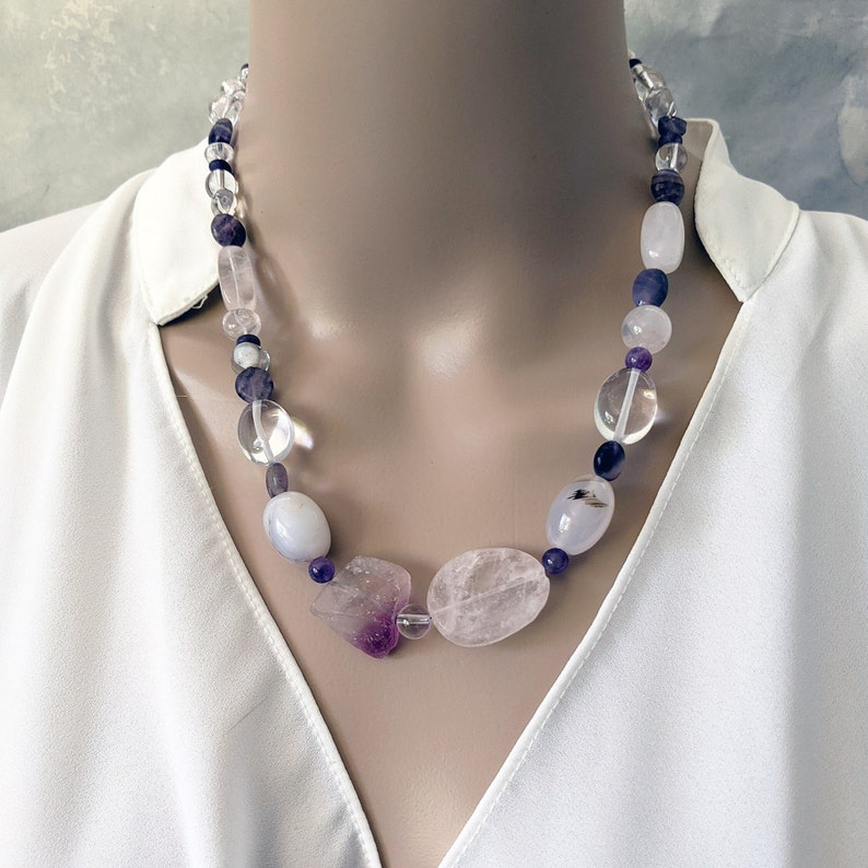 Handmade clear crystals rose quartz and amethyst necklace image 0