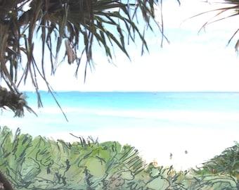 Downloadable digital art print of pandanas on beach Stradbroke Island