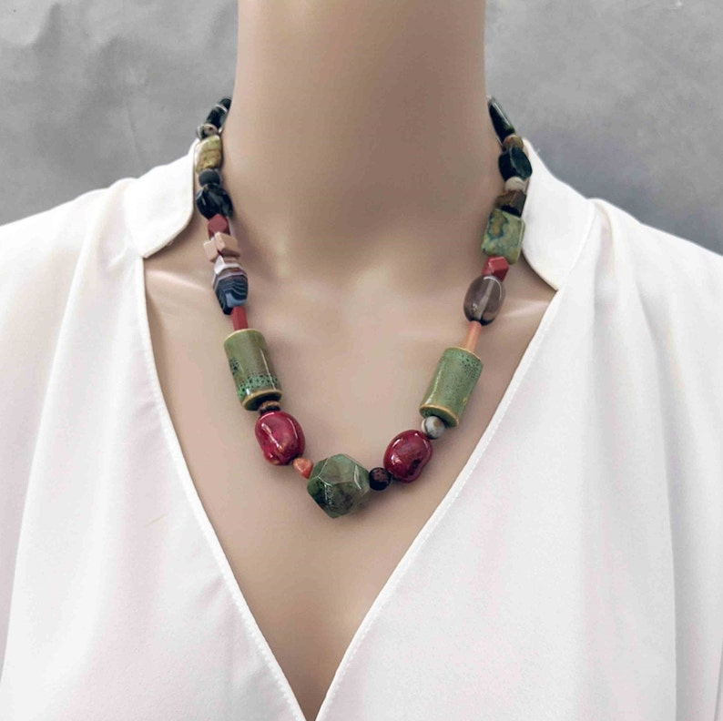 One-of-a-Kind Gift Handmade Beaded  Necklace with Ceramic image 0