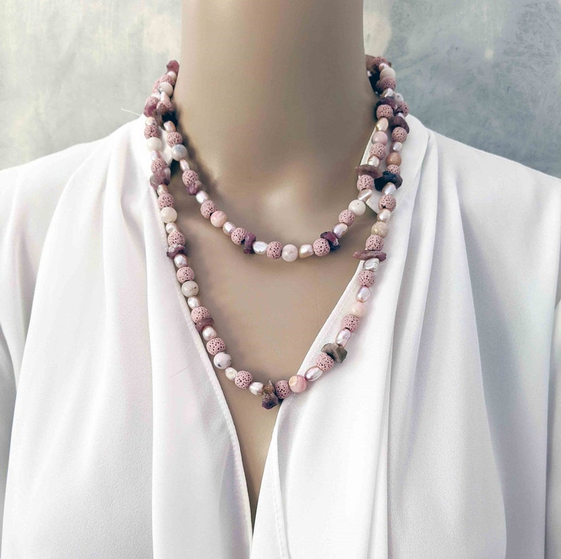 Long Handmade Pink Lava Rock and Pink Pearls Gemstone Necklace image 0