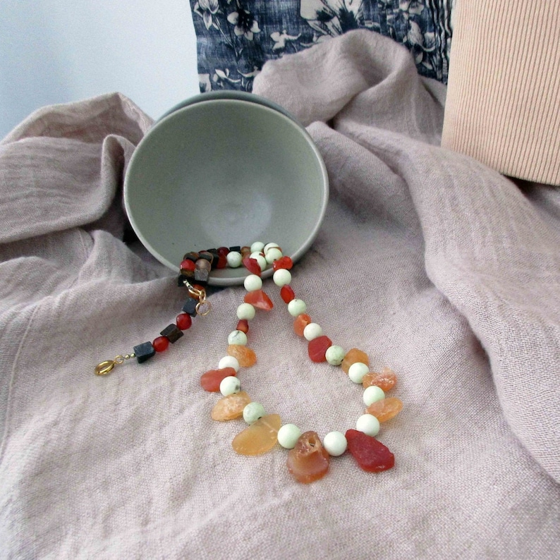 Handmade Yellow Chrysoprase and Fire Opal Gemstone Necklace image 0