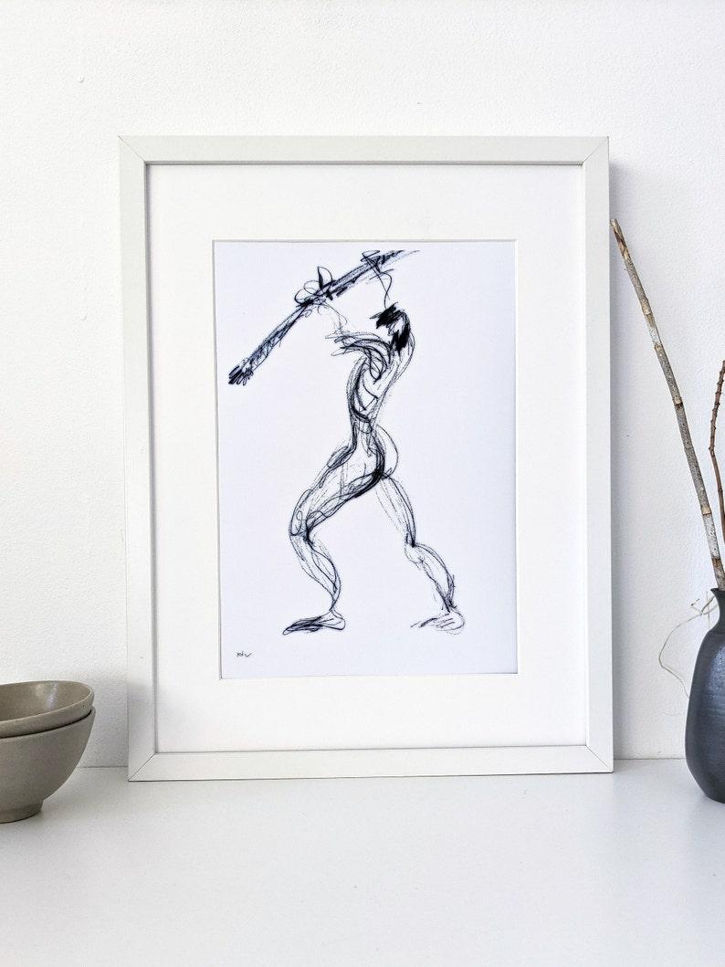 Black and white printable figure art image 0