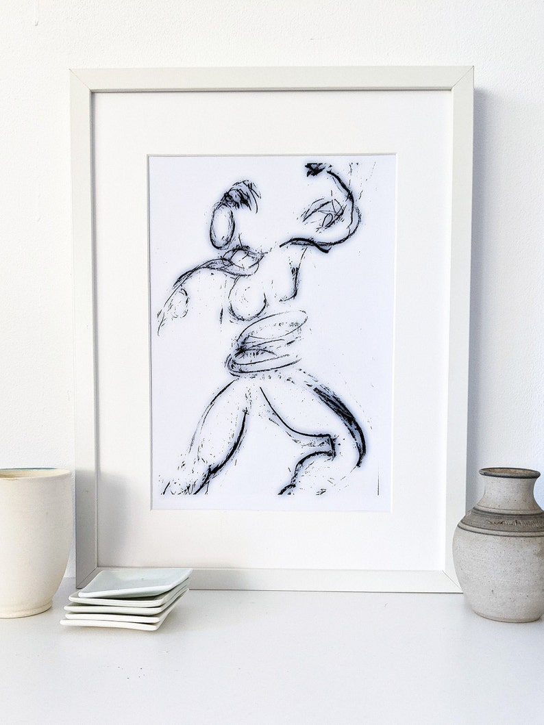 Printable abstract instant download drawing of a female figure image 0