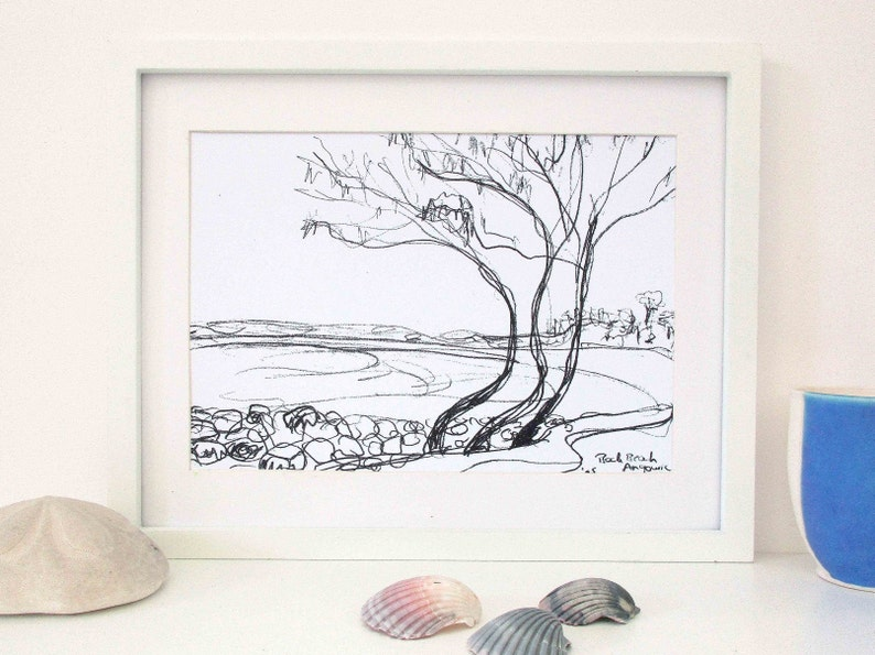 A4 Black and White Print of Back Beach Angourie from an image 0