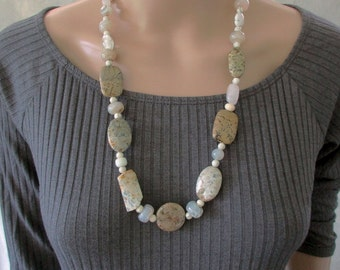 Handmade Stone Necklace, Natural Stones, Semi Precious, Earthy Jewellery, Earthy Colours, Boho Gemstone Necklace, Birthstone, Gift for Wife