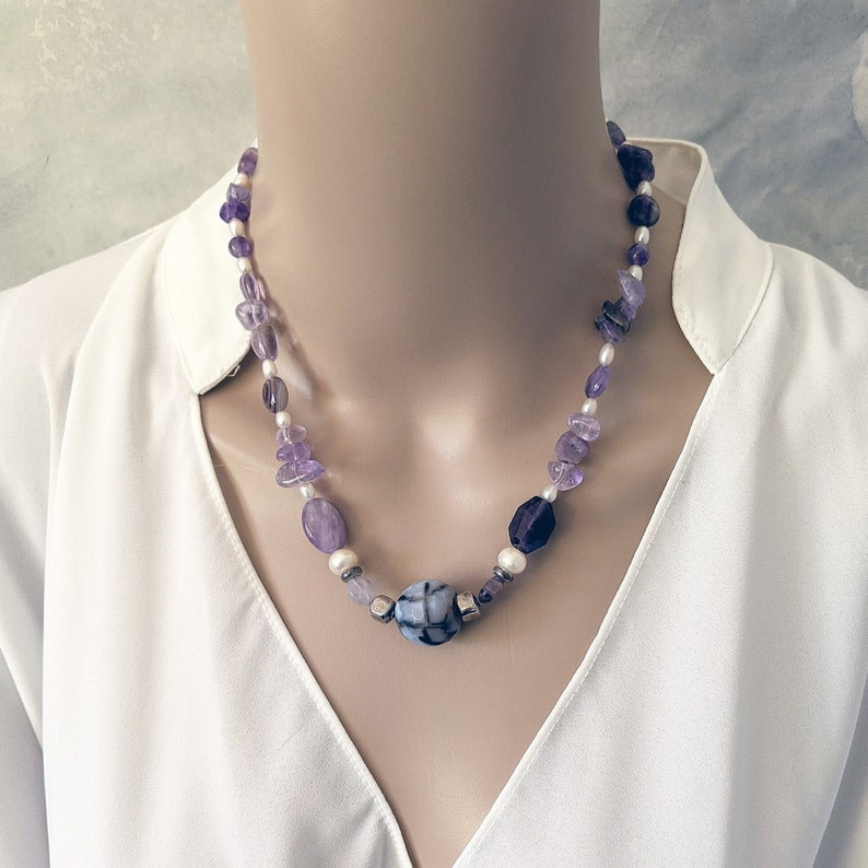 Handmade amethyst and white pearls necklace image 0
