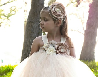 Champagne Flower Girl Dress / Champagne Tutu Dress / Champagne Tulle Dress / Champagne Dress / Champagne Wedding / Champagne