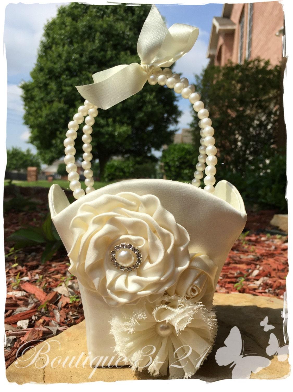 Small Ivory Flower Girl Basket White Flower Girl Basket Pearl