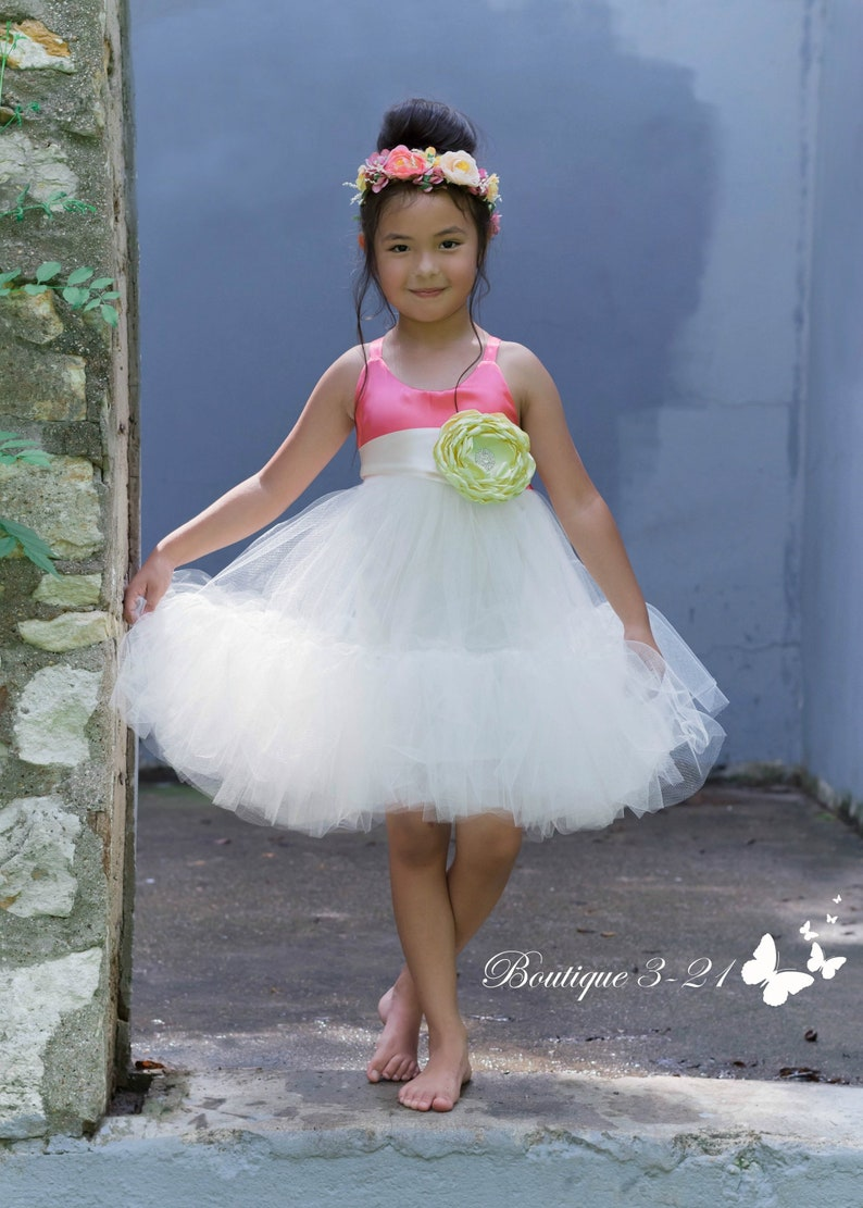 15748921c1b New Coral Flower Girl Dress Coral Tutu Dress Coral Tulle