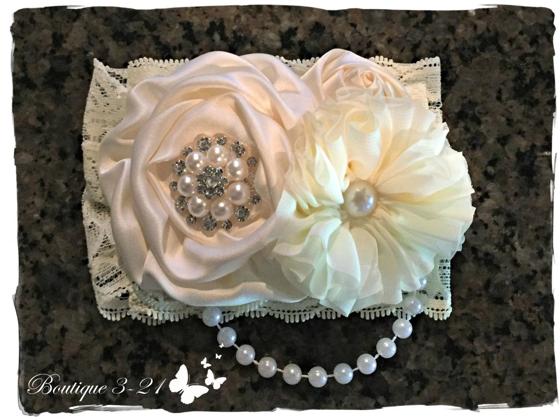 Ivory Flower Girl Headband White Flower Girl Headband Ivory