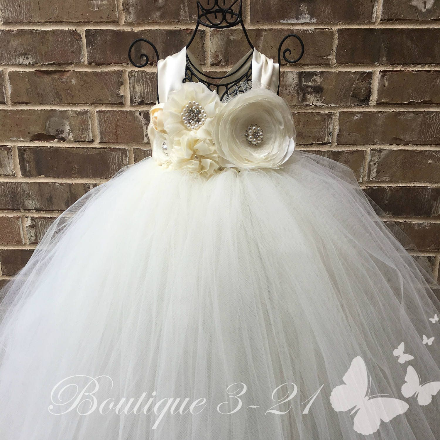 Ivory Flower Girl Dress Ivory Tutu Dress Ivory Tulle Dress Ivory